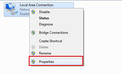 click on adapter properties