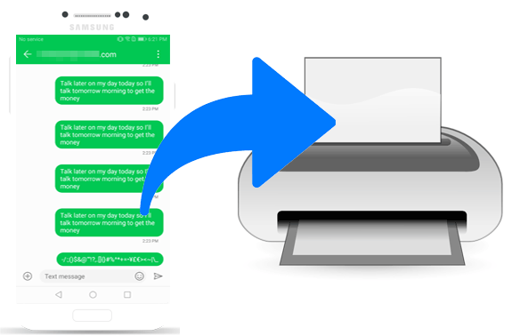print message or contacts from Android phone