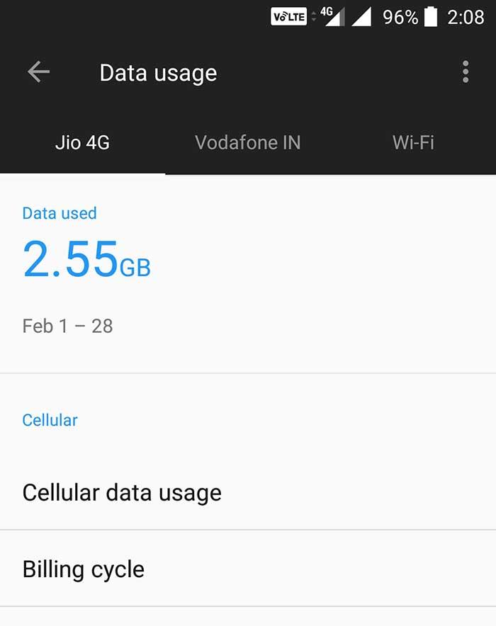 Check jio data usage