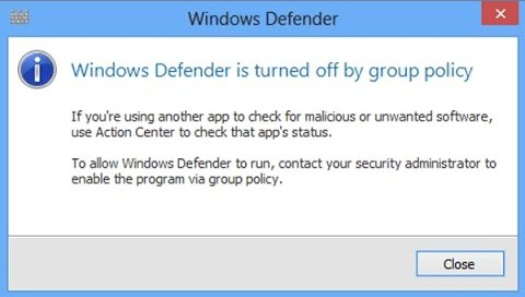 Windows Defender blocked by group policy- What are the solutions